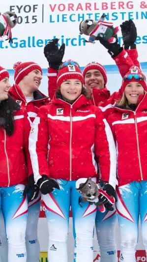 Team-Gold für Österreich mit Pascal Fritz aus Bartholomäberg und Katharina Liensberger aus Göfis.