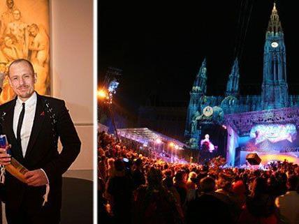 """Inge Prader und Life Ball-Organisator Gerry Keszler bei der Vernissage und Opening Party zum Life Ball 2015 """"Style Bible Sujet 2015"""""""
