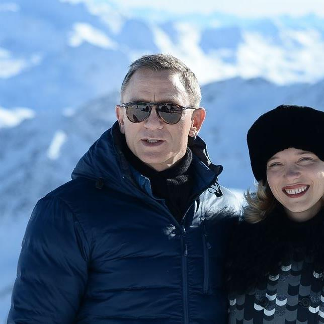 Daniel Craig und Lea Seydoux in den österreichischen Alpen.