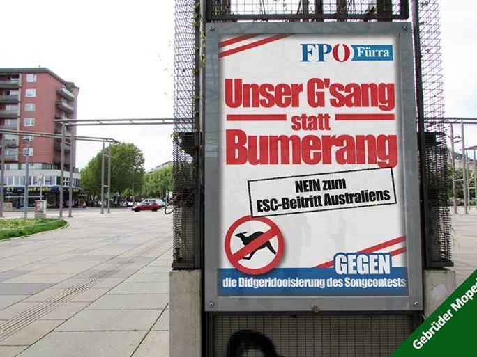 """Gefälschtes FPÖ-Plakat wettert gegen die """"Didgeridooisierung des Songcontests""""."""