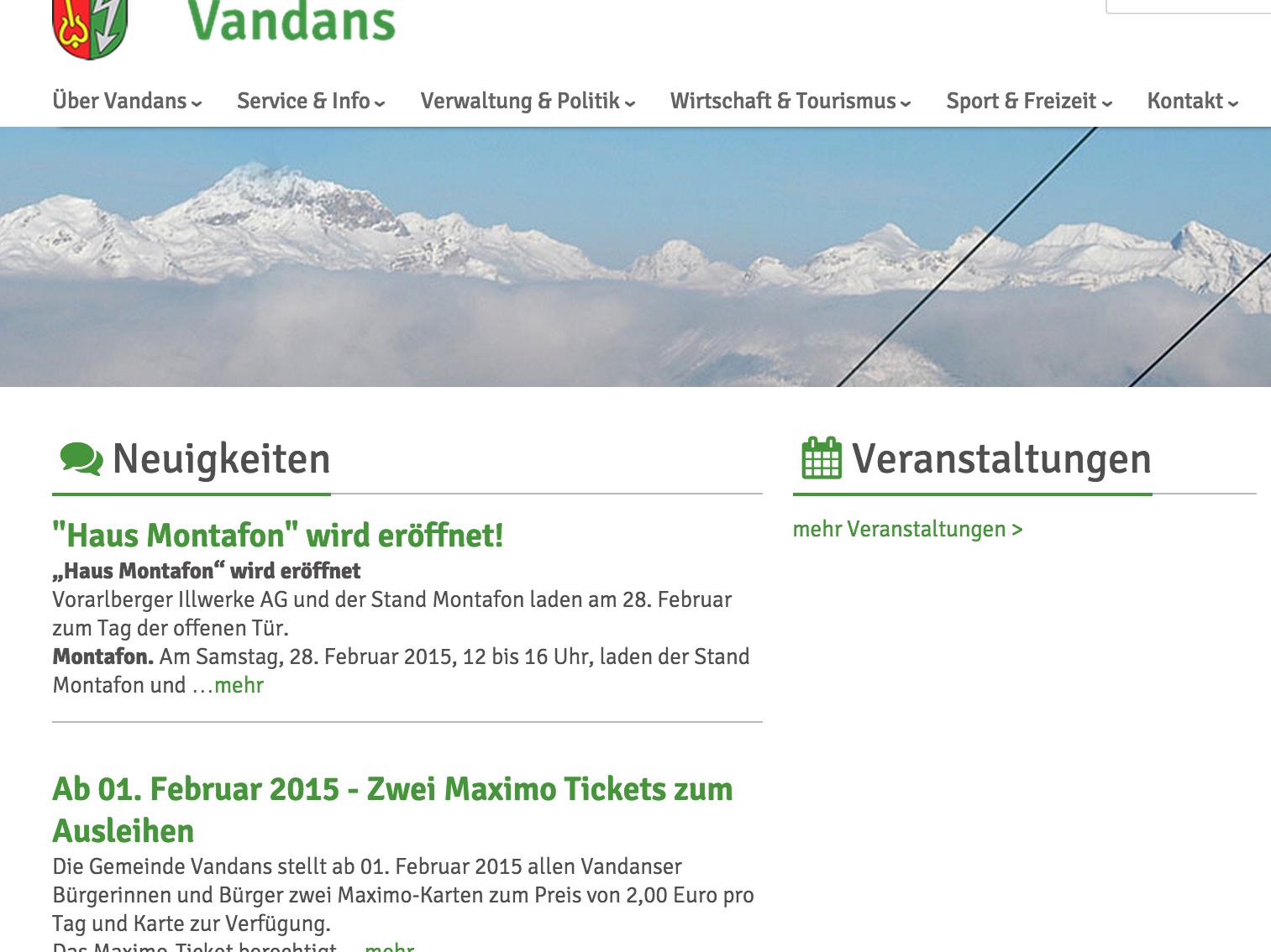 Die neue Homepage der Gemeinde Vandans ist sehr informativ und optisch ein echter