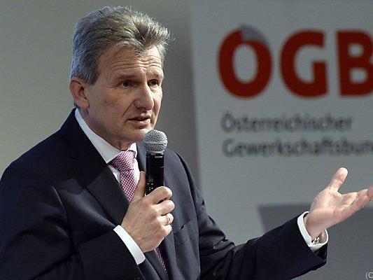 """ÖGB-Präsident Erich Foglar beim Festakt """"70 Jahre ÖGB"""""""