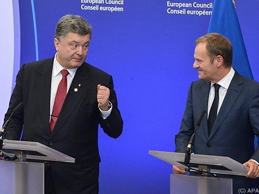 Poroschenko mit EU-Ratspräsidenten Tusk