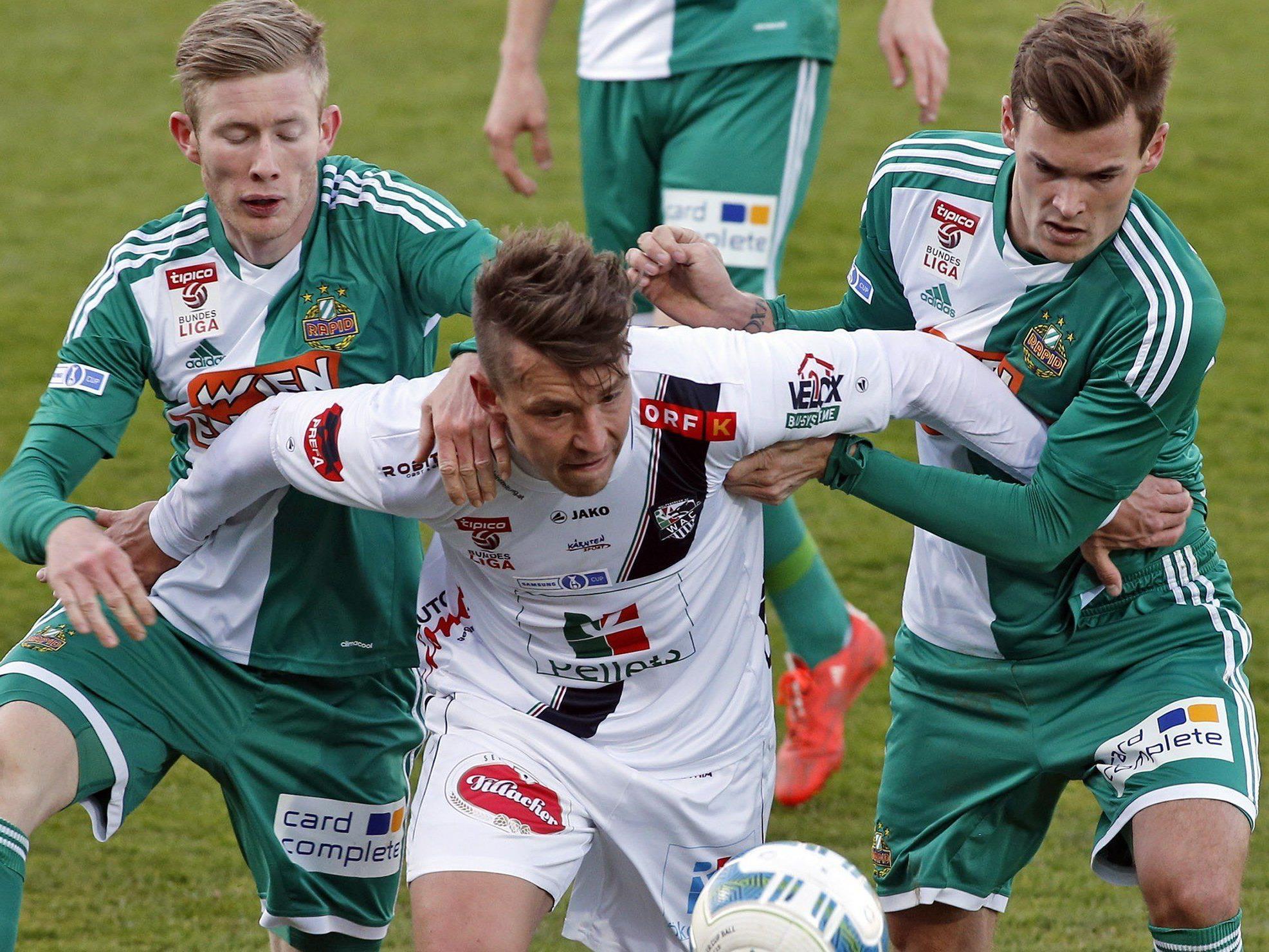 Rapid Wien musste sich im Cup-Viertelfinale gegen den WAC geschlagen geben.