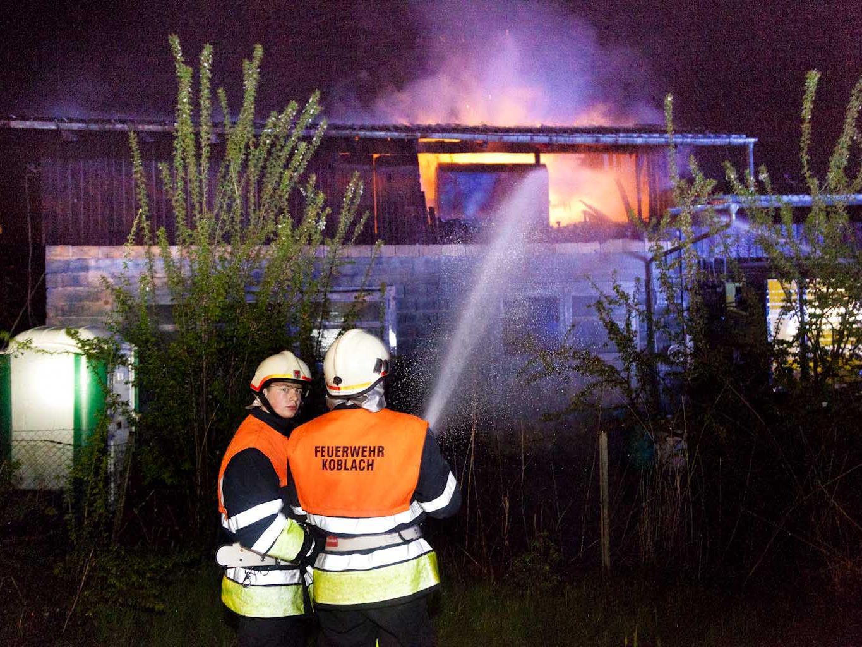 Brand in Lagerschuppen in Koblach.