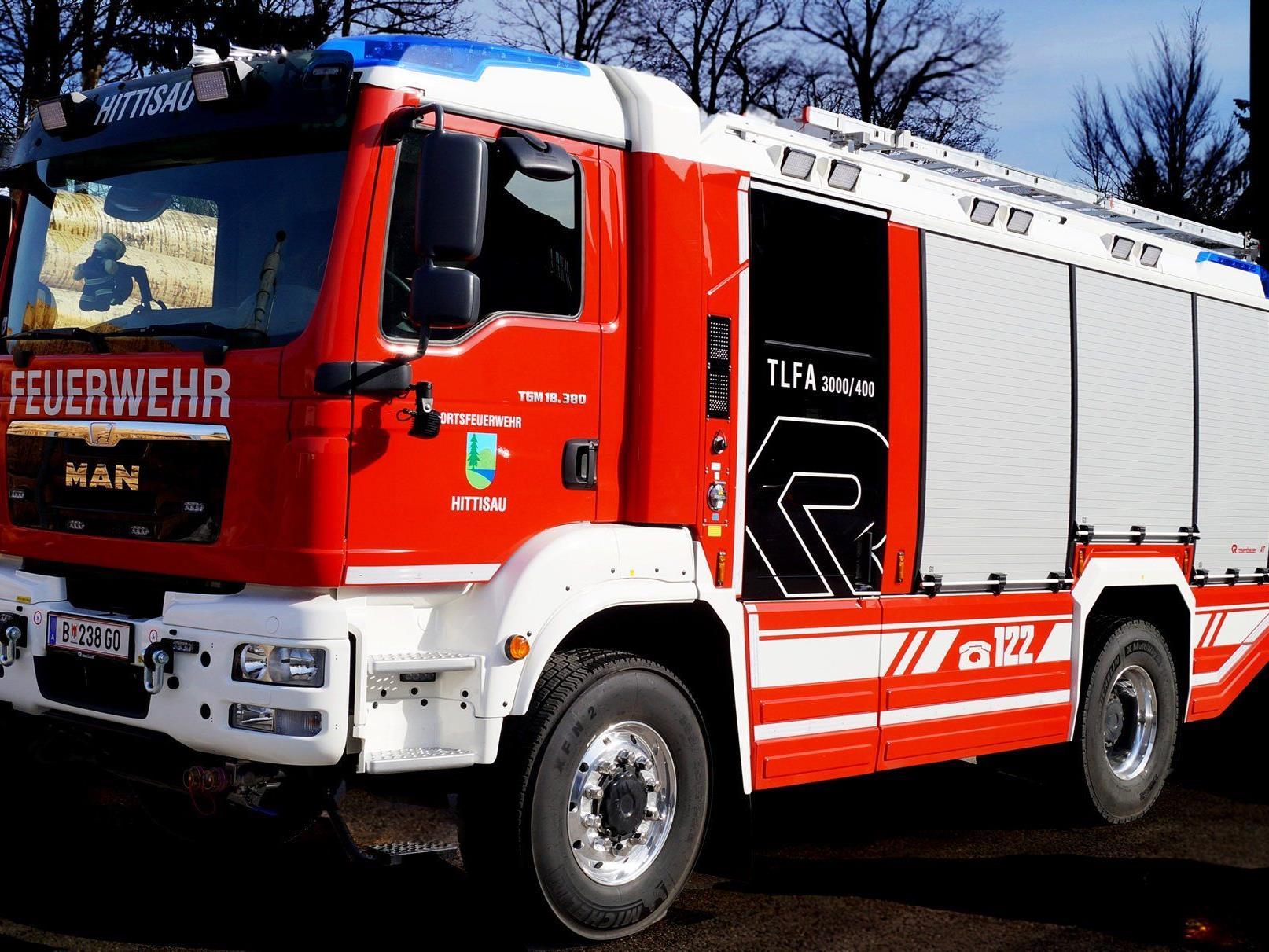 Das moderne Tanklöschfahrzug wird im Rahmen des Feuerwehrfestes präsentiert.
