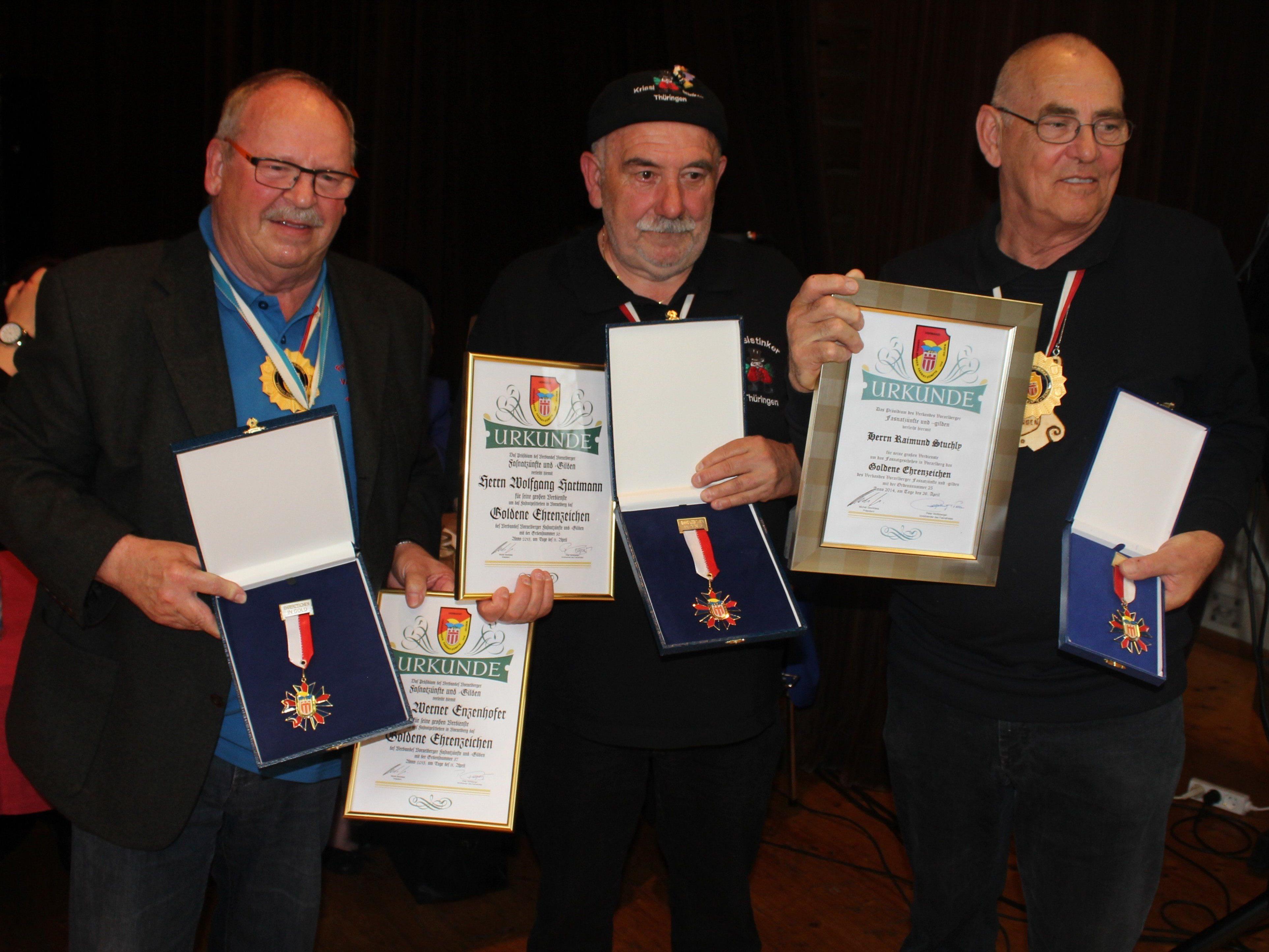 Hohe Auszeichnung für Werner Enzenhofer, Wolfi Hartmann und Raimund Stuchly