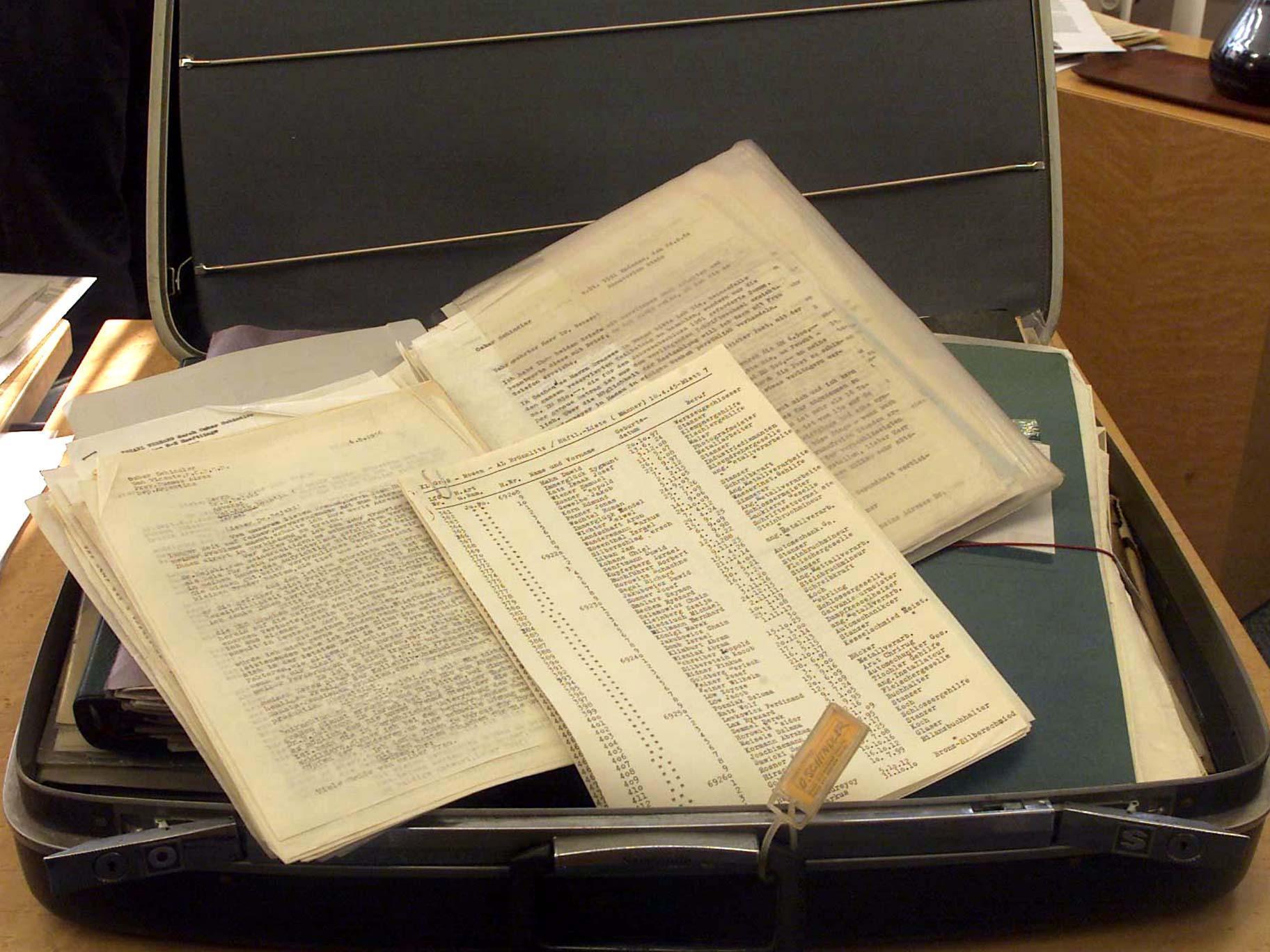 Schindlers Liste: Ein Bild der originalen Kopie der Liste, die die Namen von 1200 geretteten Juden aufführt.