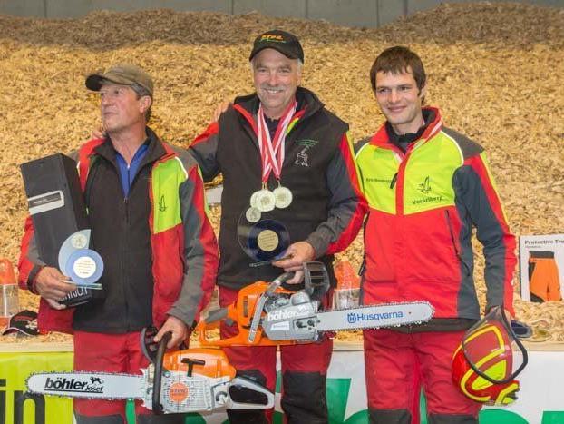 Vizelandesmeister Herwig Erhard, Landesmeister Josef Bitschnau und Martin Moosbrugger (von links)