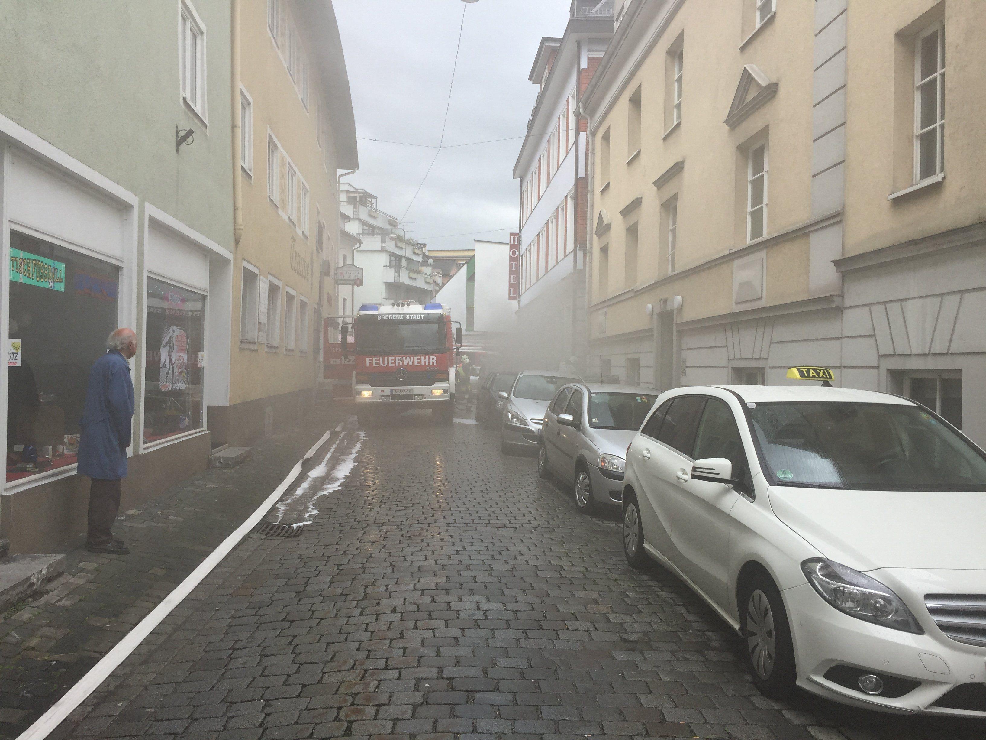 """Im Hotel """"Bodensee"""" entzündete sich ein Kellerbrand."""
