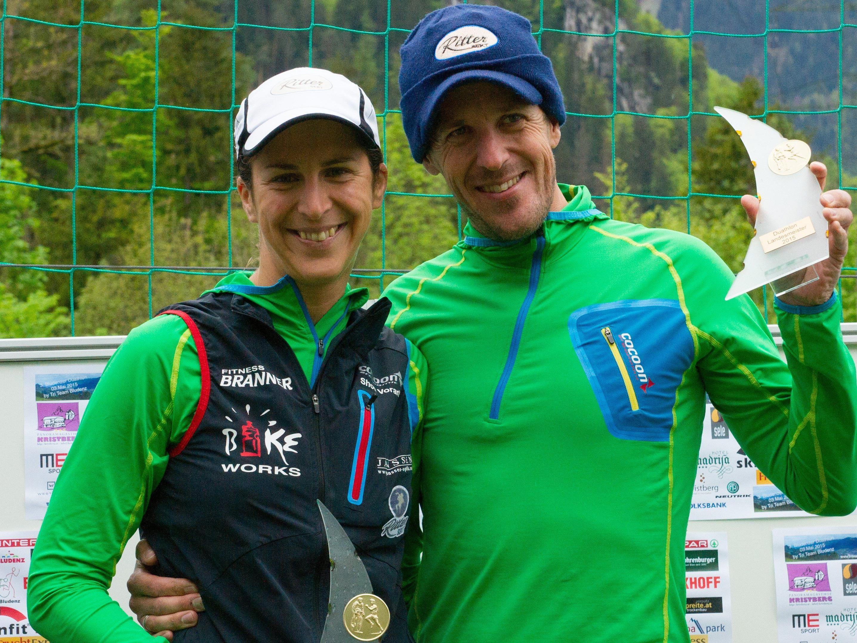 Sabine und Mathias Buxhofer holten sich den Landestitel im Duathlon in Bludenz
