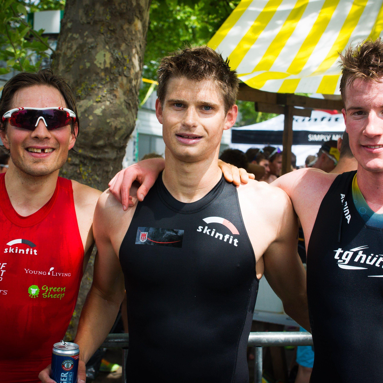 Die drei Erstplatzierten beim Luschnouar Ironmännli