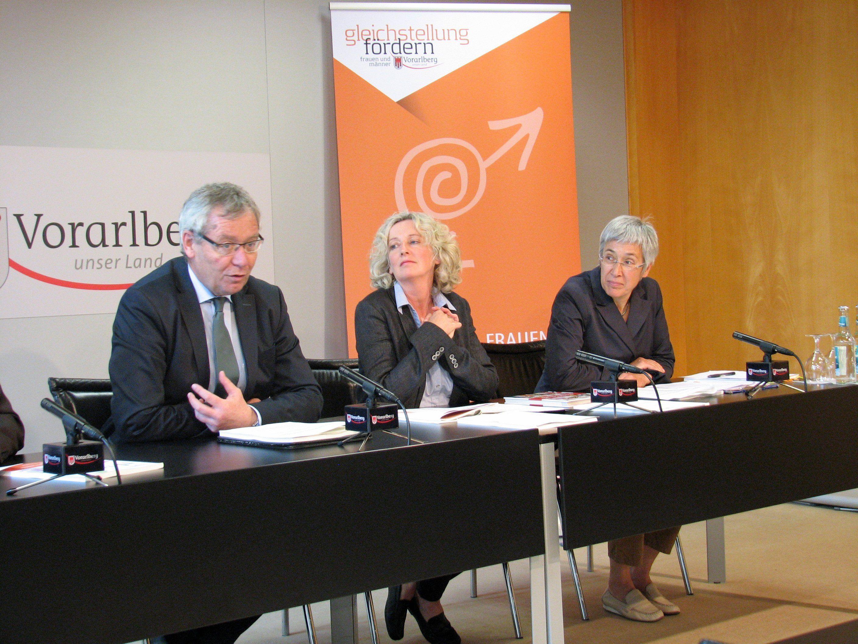 LSth. Rüdisser, LR Wiesflecker und Studienautorin Eva Häfele erläuterten die aktuellen Untersuchungen zu den Berufswünschen von Kindergarten- und Volksschulkindern.