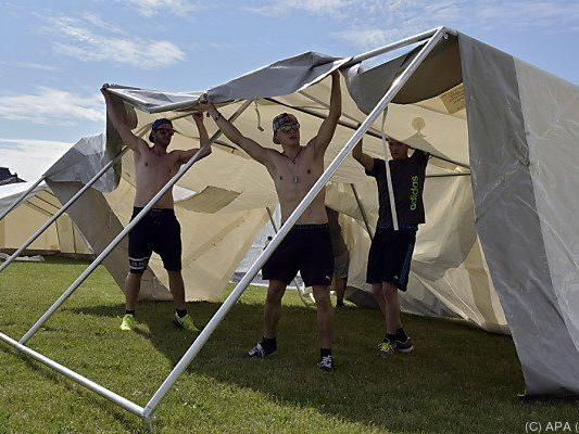 480 Personen sind im Moment in Zelten untergebracht