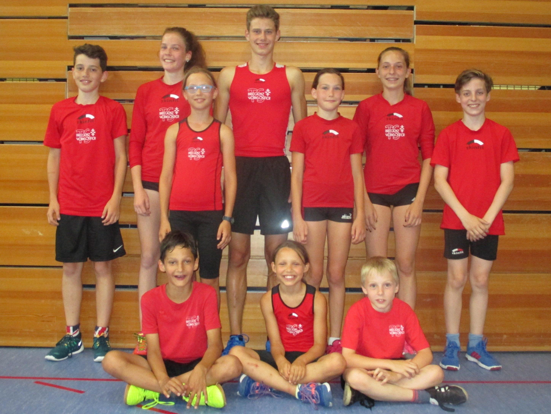 Die Teilnehmer der TS Bregenz-Vorkloster an den Mehrkampfmeisterschaften in Lustenau.