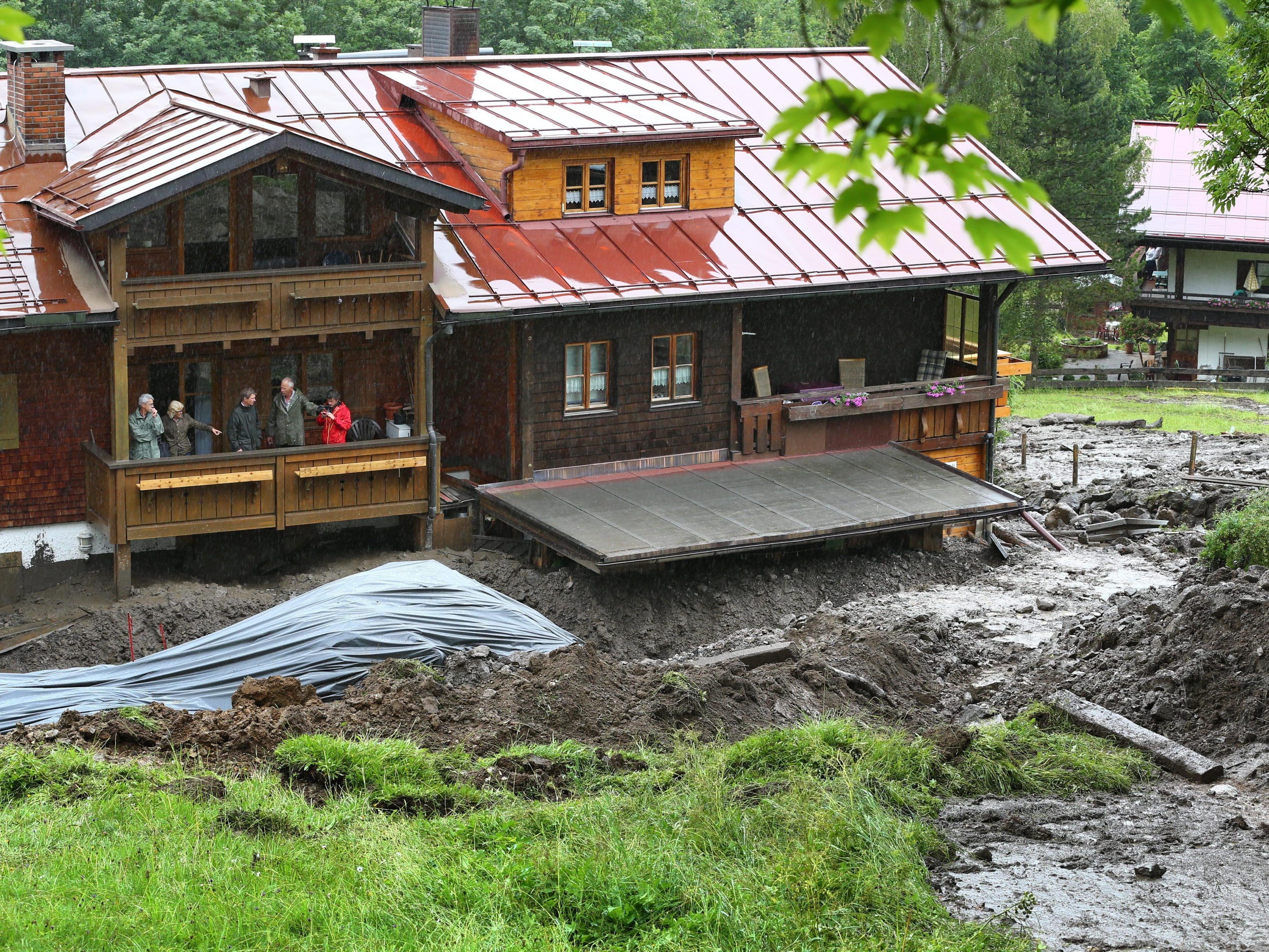 In Oberstdorf war am Wochenende eine Schlammlawine niedergegangen.
