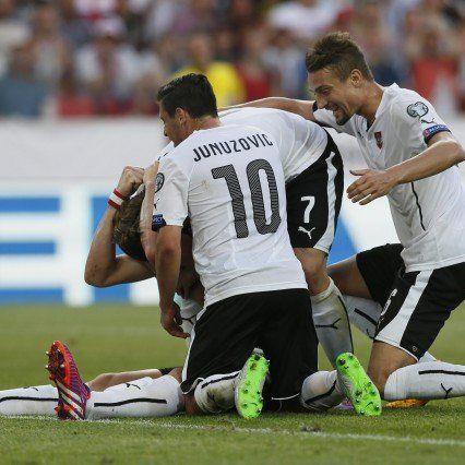 Österreich jubelt über einen 1:0-Sieg in Russland.