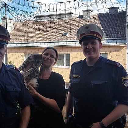 Die Polizisten mit der geretteten Samtpfote und ihrer Besitzerin