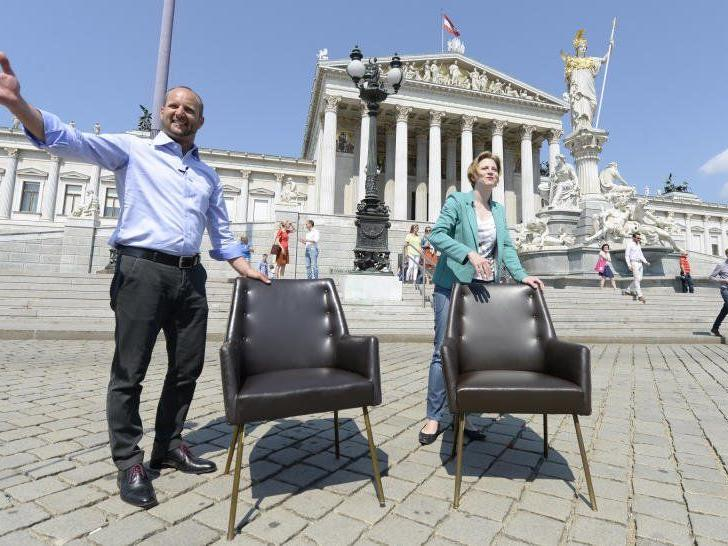 NEOS-Klubobmann und Parteichef Mathias Strolz mit der stv. Klubobfrau Beate Meinl-Reisinger