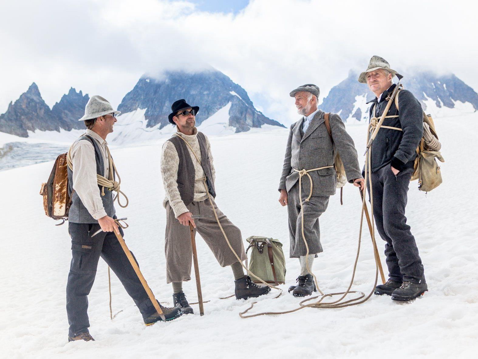 Die historische Seilschaft die die Jubläumstour 150 Jahre Piz Buin Erstbesteigung angeführt hat.