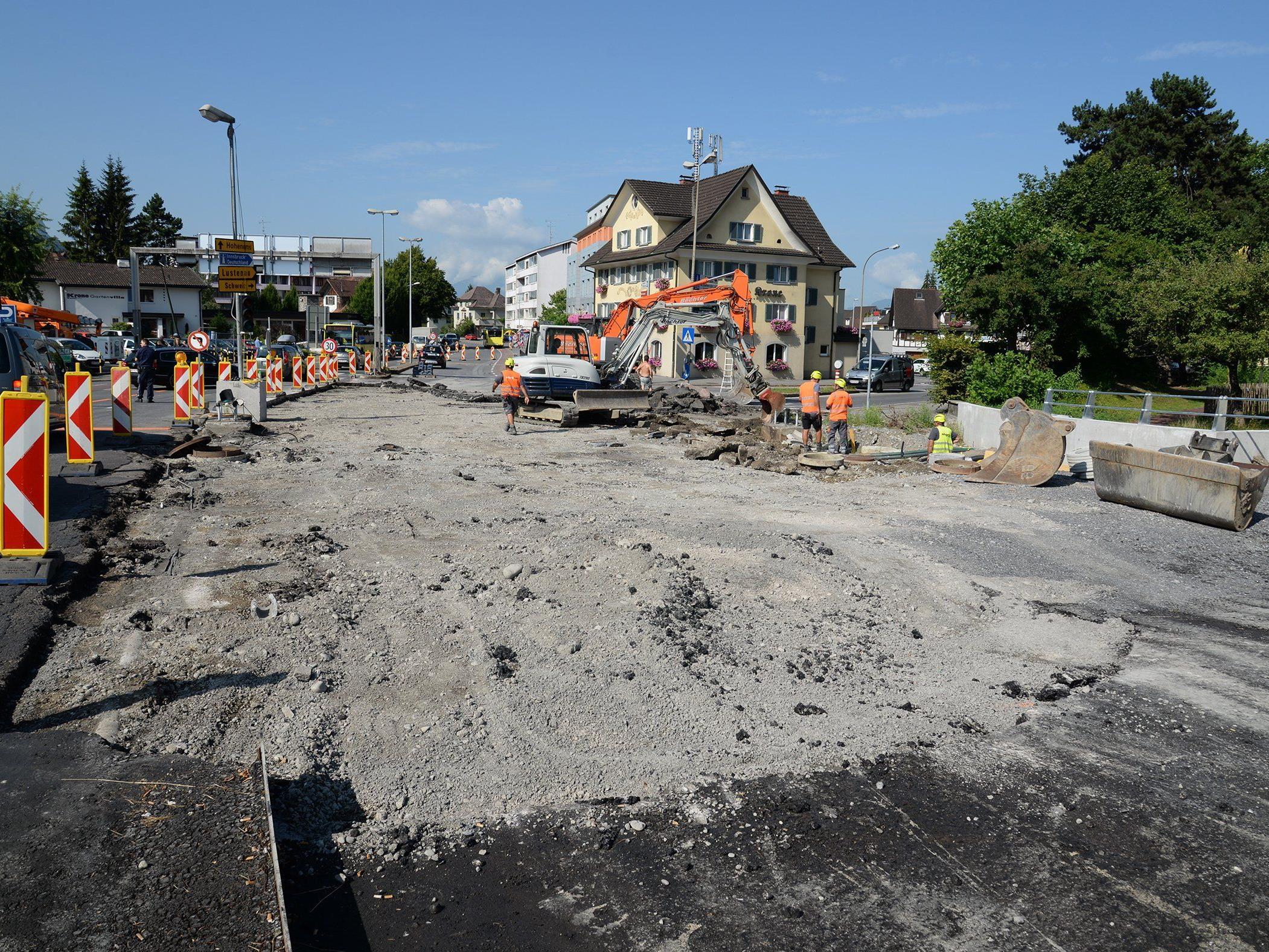 Neue Etappe beim Umbau der Sägerbrücke in Dornbirn.