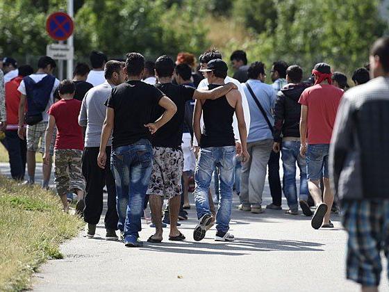 Asylwerber im Erstaufnahmezentrum Traiskirchen
