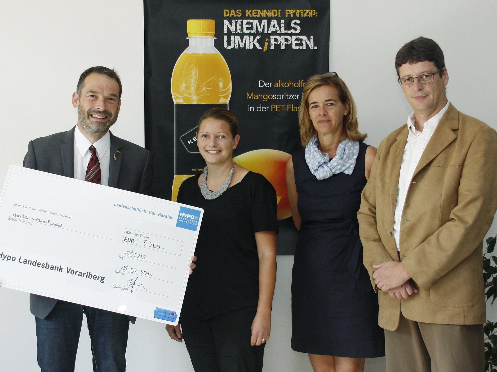Michael Burtscher (AGM), Birgit Knecht (Clean), Ingrid Matt (SUPRO) und Günter Amann (Stiftung Maria Ebene)