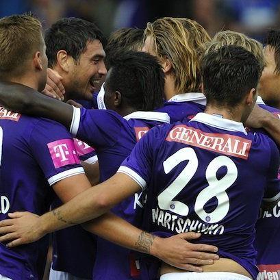 Austria Spieler jubeln im Spiel zwischen FK Austria Wien und Cashpoint SCR Altach