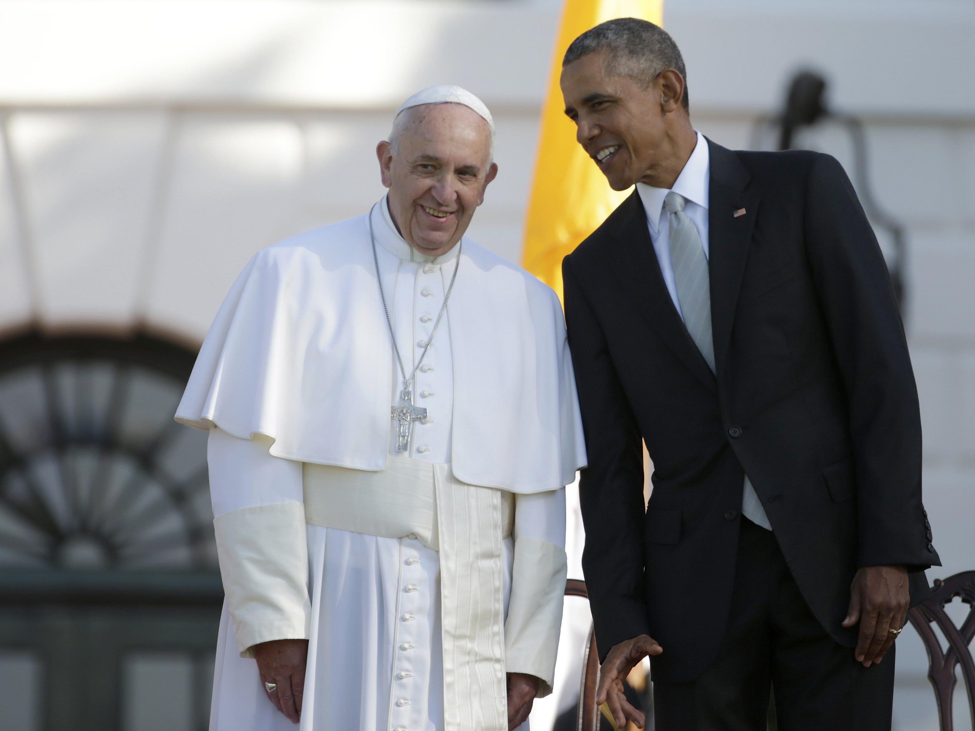 Papst Franziskus wurde am Mitwoch offiziell im weißen Haus empfangen