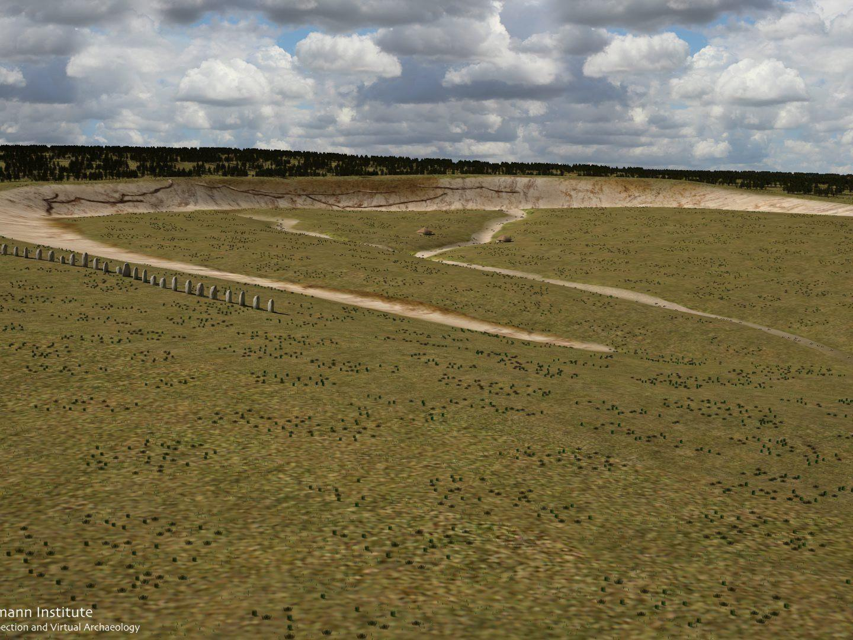 Rekonstruktion des riesigen Halbkreises aus Steinen nahe Stonehenge.