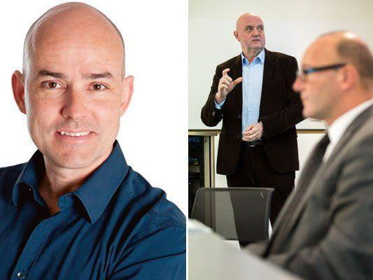 Thomas Pichler (l.) als designierter Nachfolger von Geschäftsführer Michael Doppelmayr (r.) im Gespräch.