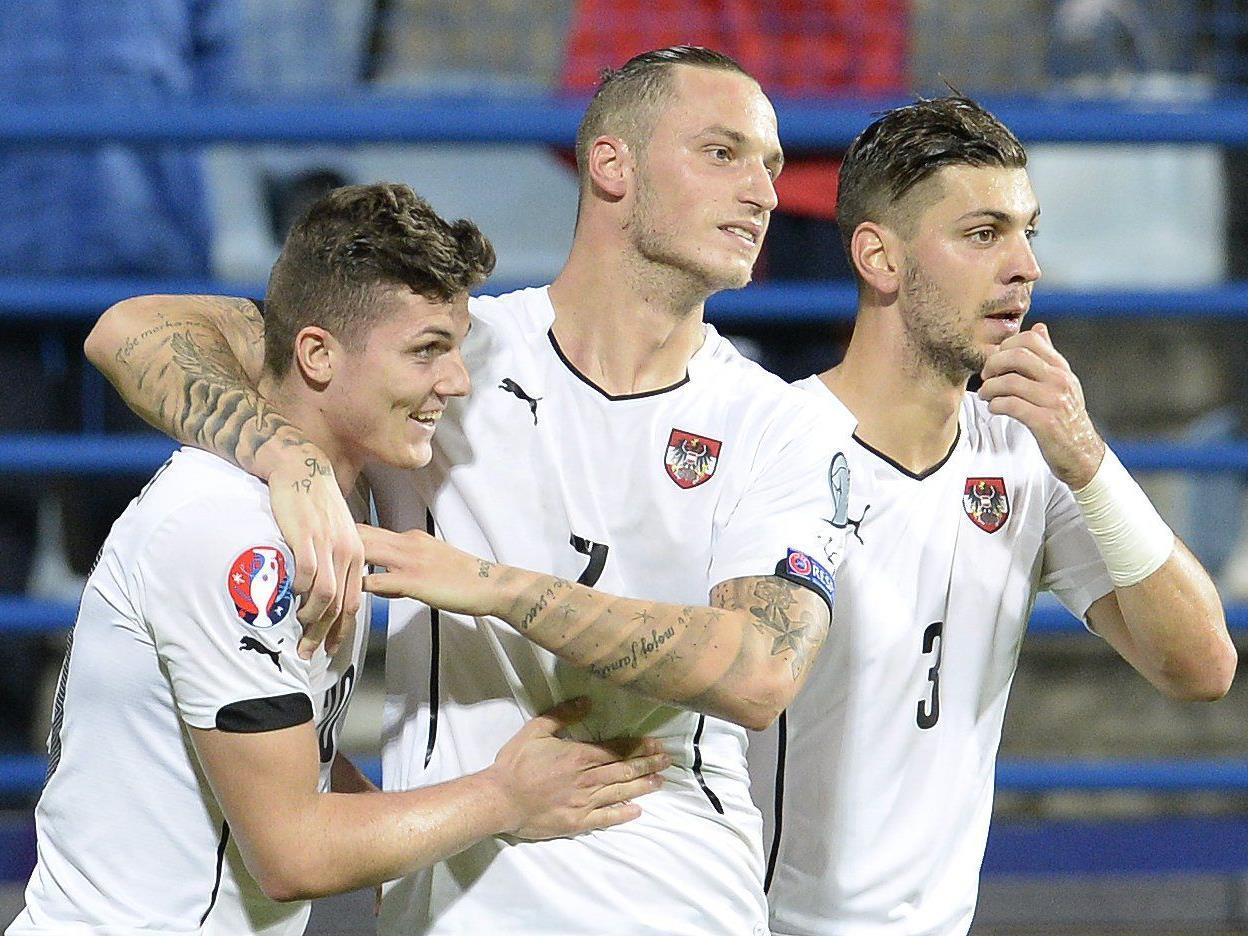 Das österreichische Nationalteam mit dem Last-Minute-Sieg über Montenegro.