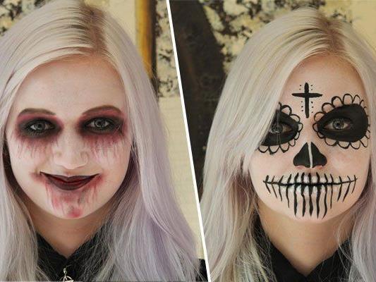 Ob nun blutverschmiert oder blanker Schädel, so klappt es mit der Maskerade.