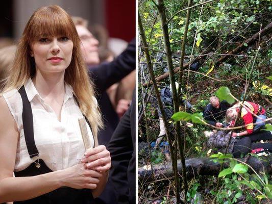Einsatzkräfte bei Ex-Miss Austria Ena Kadic nach ihrem Absturz nahe der Aussichtsplattform Drachenfelsen abgestürzt