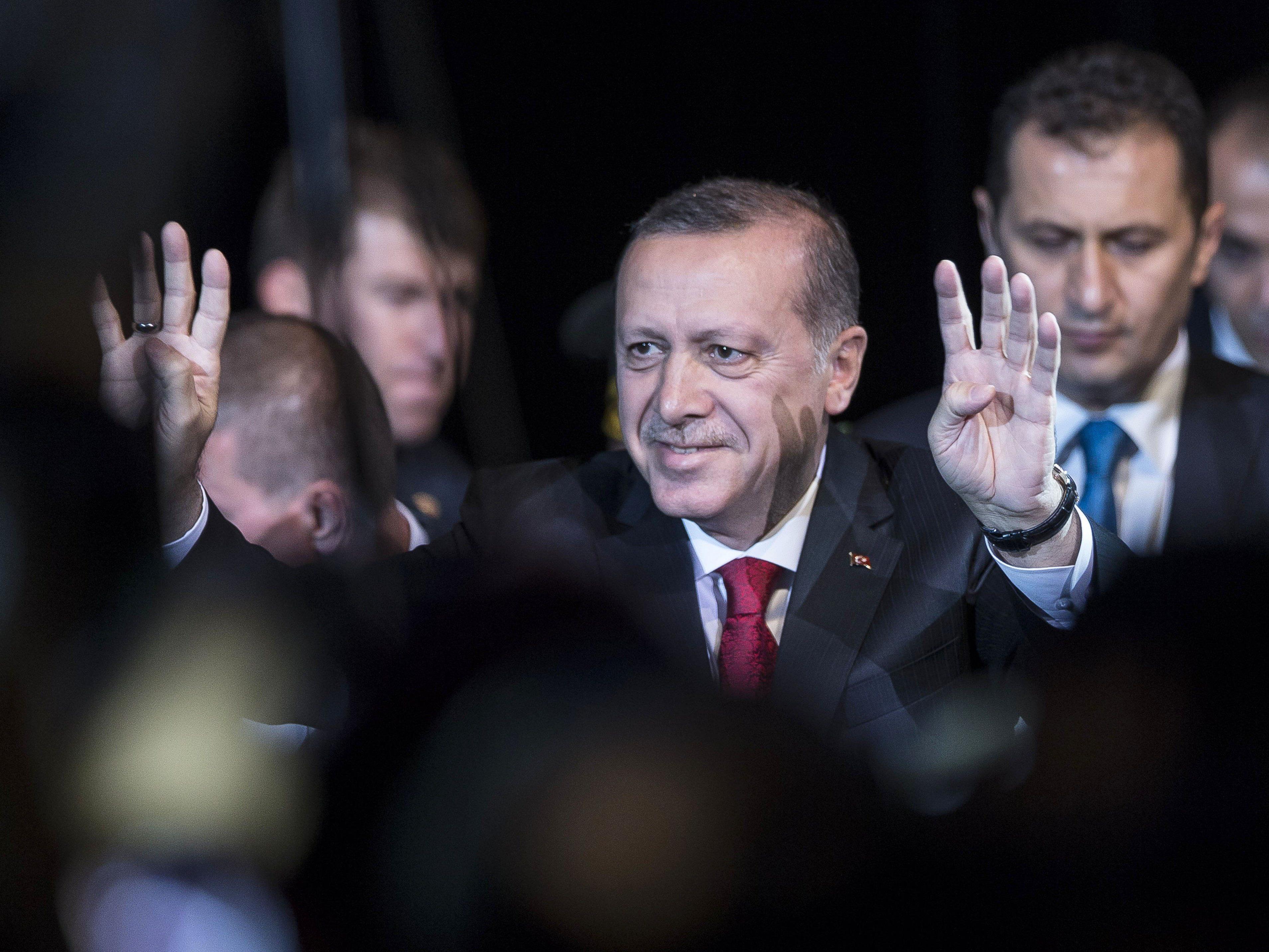 """Präsident Erdogan veurteilte am Sonntag in Straßburg die """"von der PKK ausgehende Gewalt"""" im Südosten der Türkei."""