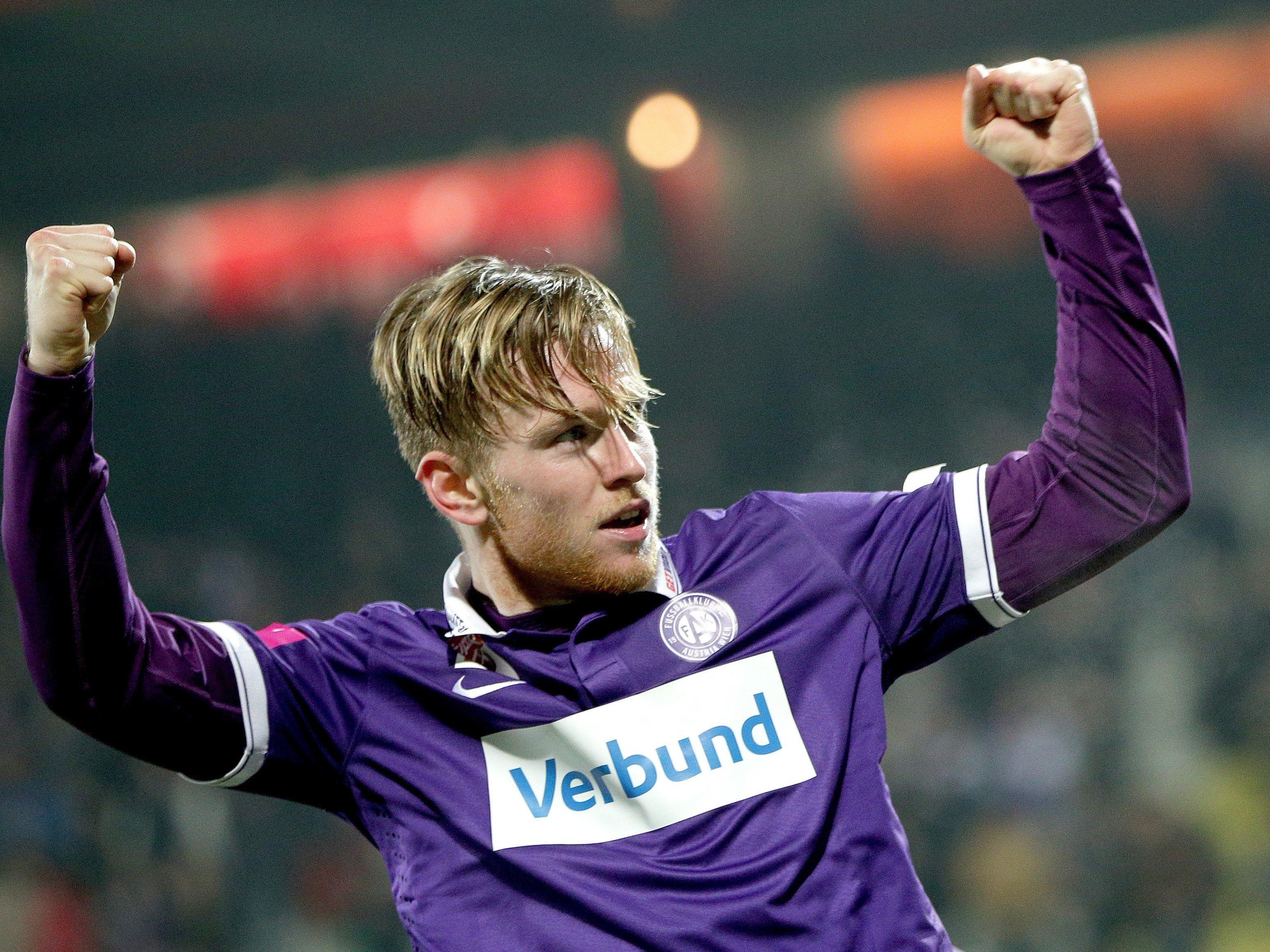 Kevin Friesenbichlers Doppelpack brachte der Austria den Cup-Aufstieg.