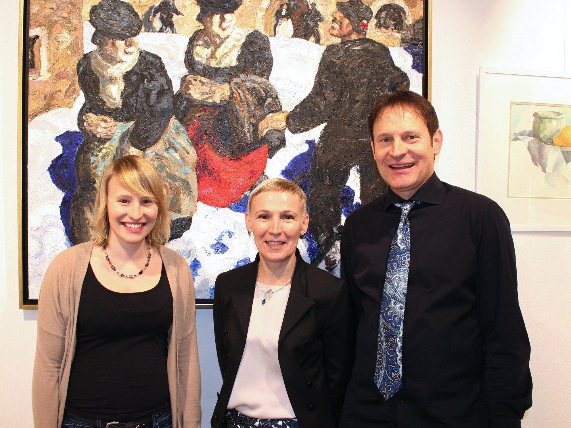 Yvonne, Carmen und Werner Böhler von der Art-Galerie.