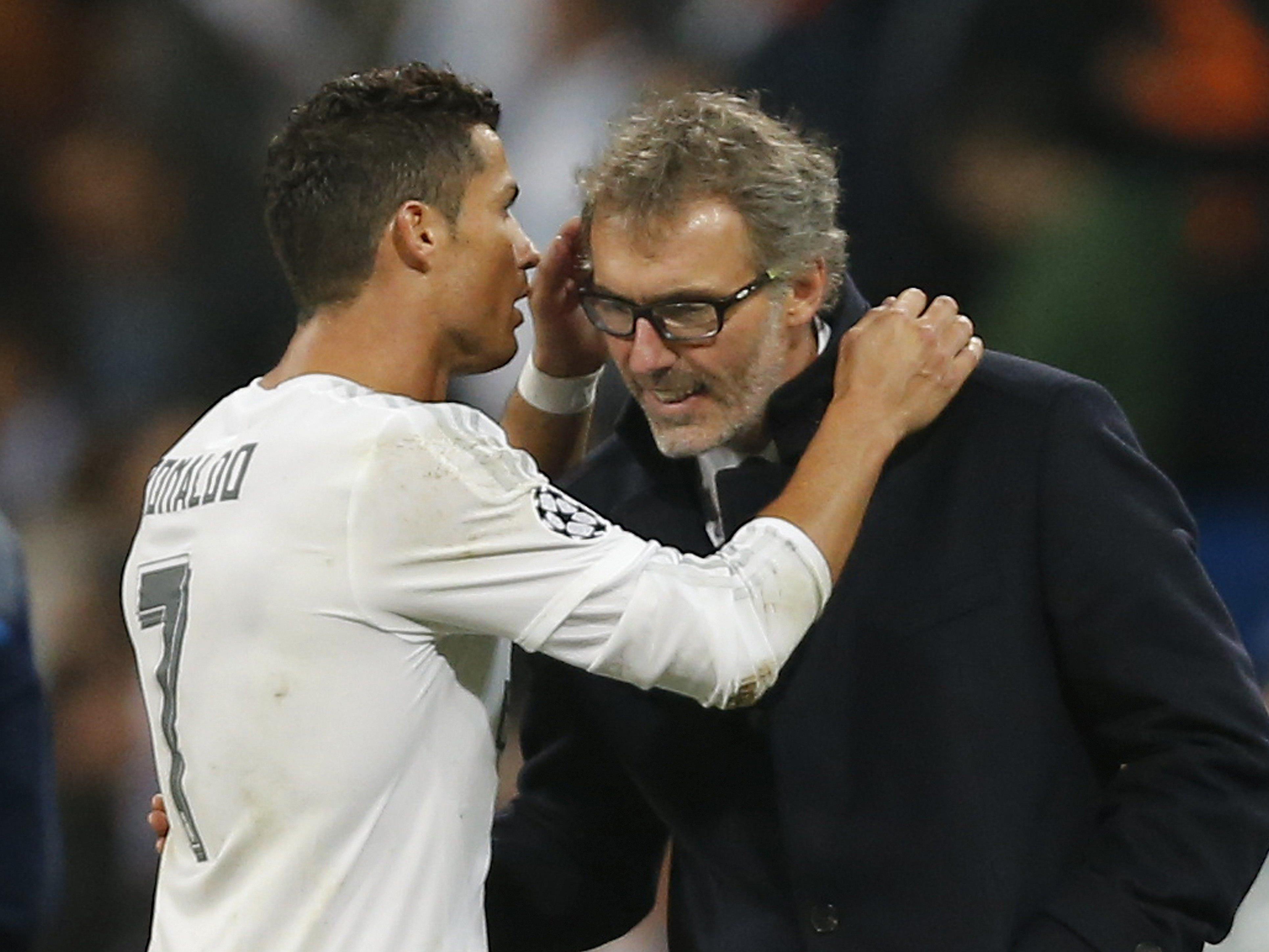 Freundliche Worte nach dem CL-Spiel zwischen Real-Star Ronaldo und Paris-Trainer Blanc.