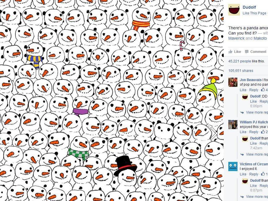 Suchbild: Wer findet den Panda zwischen den Schneemännern?