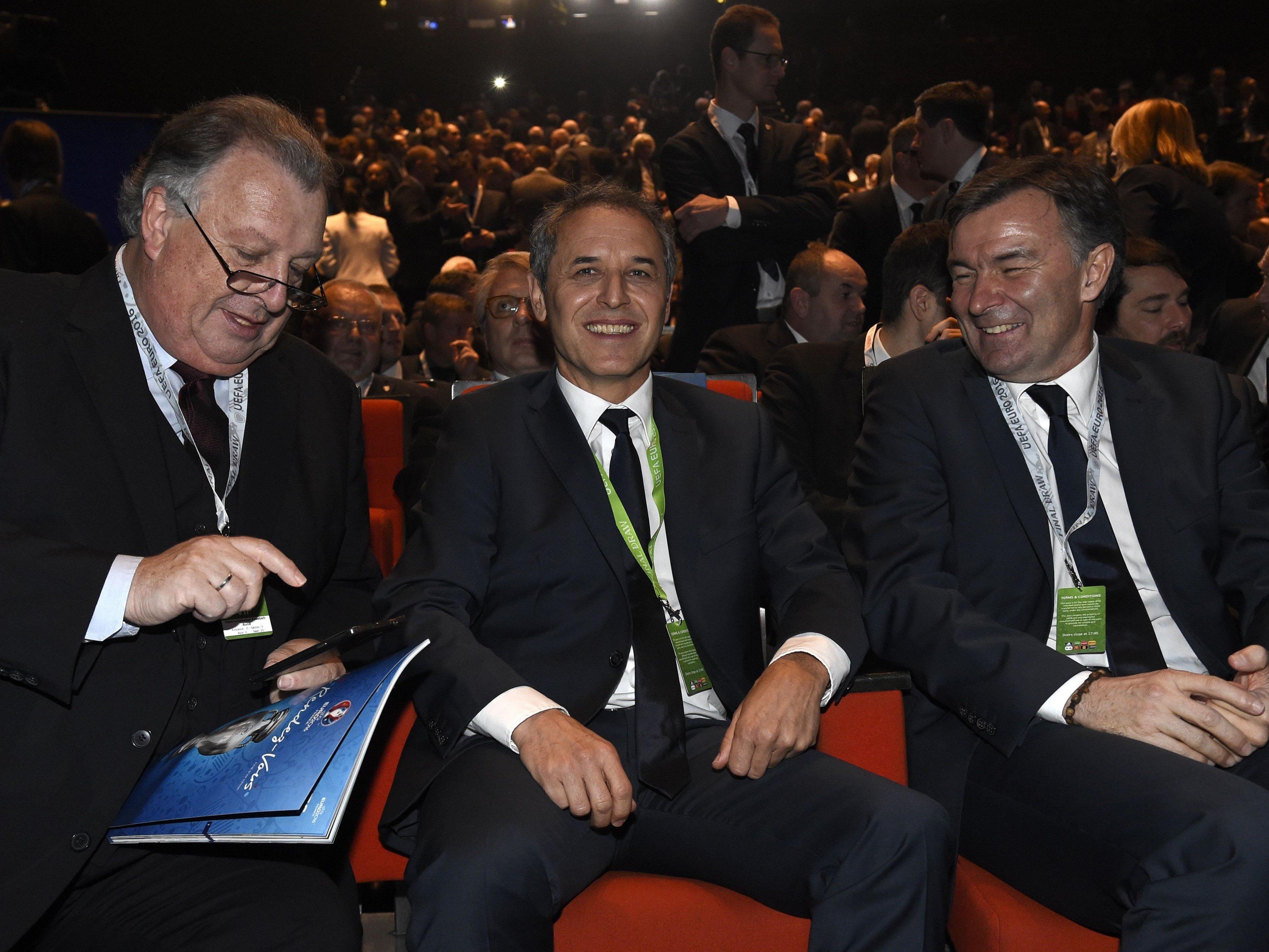 """Alfred """"Gigi"""" Ludwig, Marcel Koller und Willi Ruttensteiner bei der Auslosung in Paris."""