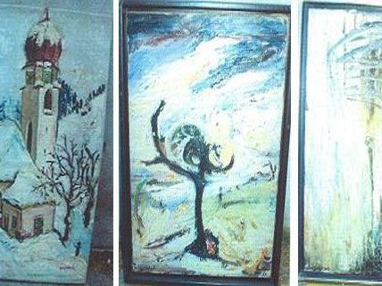 Drei Werke der Malerin Soshana, die vor einigen Jahren gestohlen wurden.