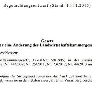 Landwirtschaftskammergesetz: Bis 18.12. können Bürger Änderungsvorschläge einbringen.