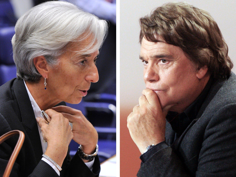 Lagarde soll wegen der Tapie-Affäre (r.) vor Gericht.