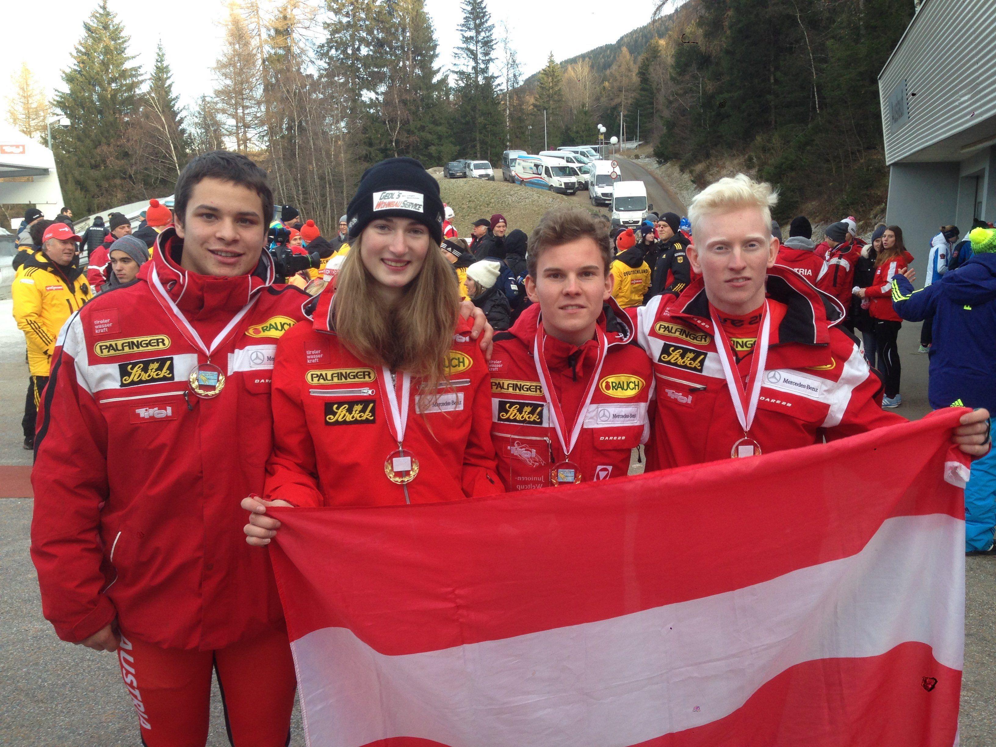 Das siegreiche Austria-Team mit Jonas Müller (links).