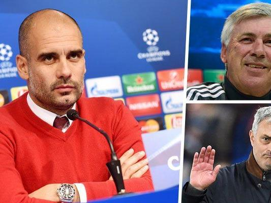 Trainerglücksrad: Während Ancelotti (r.o.) angeblich Guardiola bei den Bayern beerben soll, soll dieser angeblich der Nachfolger von Mourinho (r.u.) bei Chelsea werden.