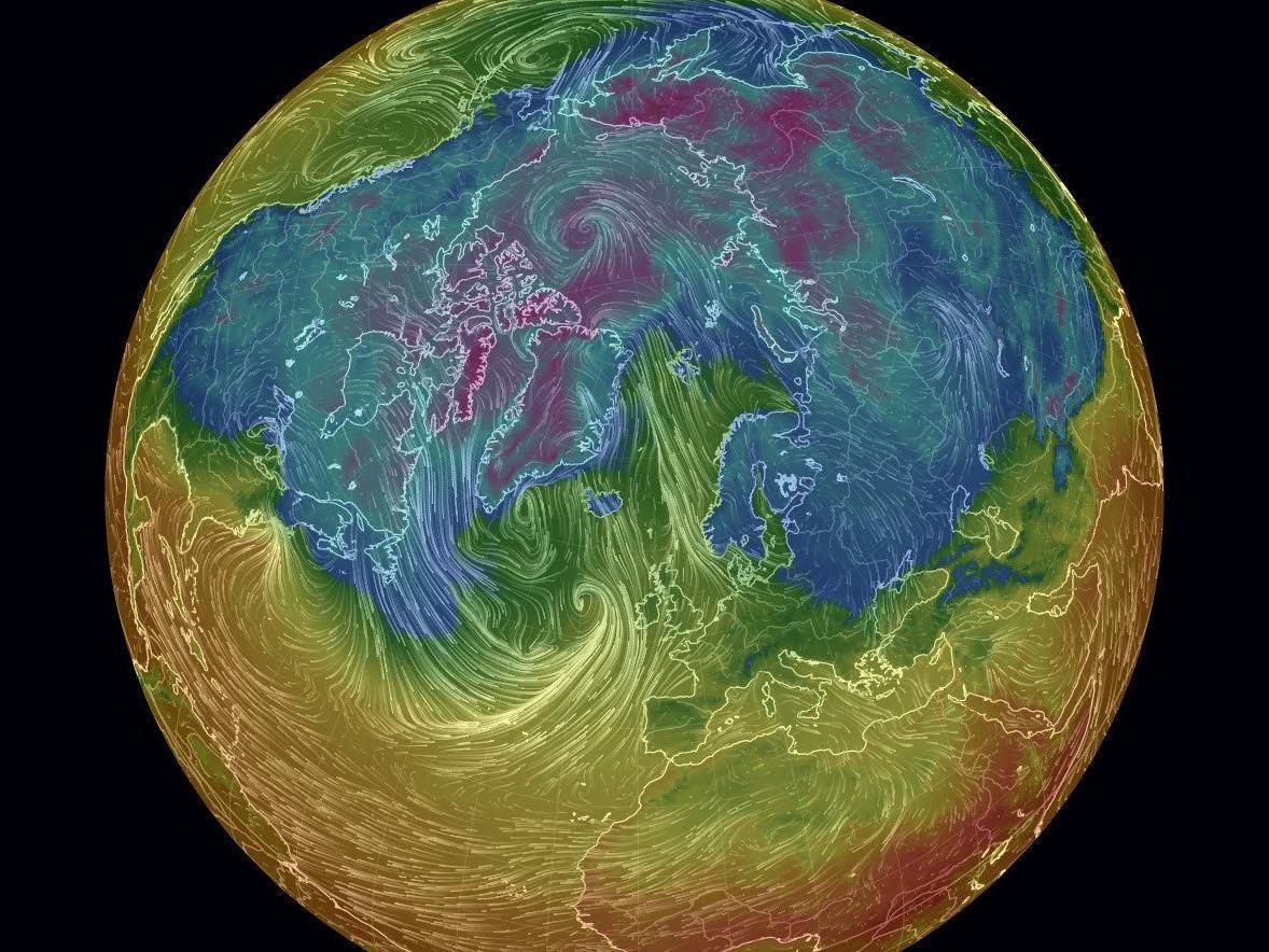 Ein Sturm im Nordatlantik sorgt am Nordpol für Temperaturen wie in Vorarlberg.