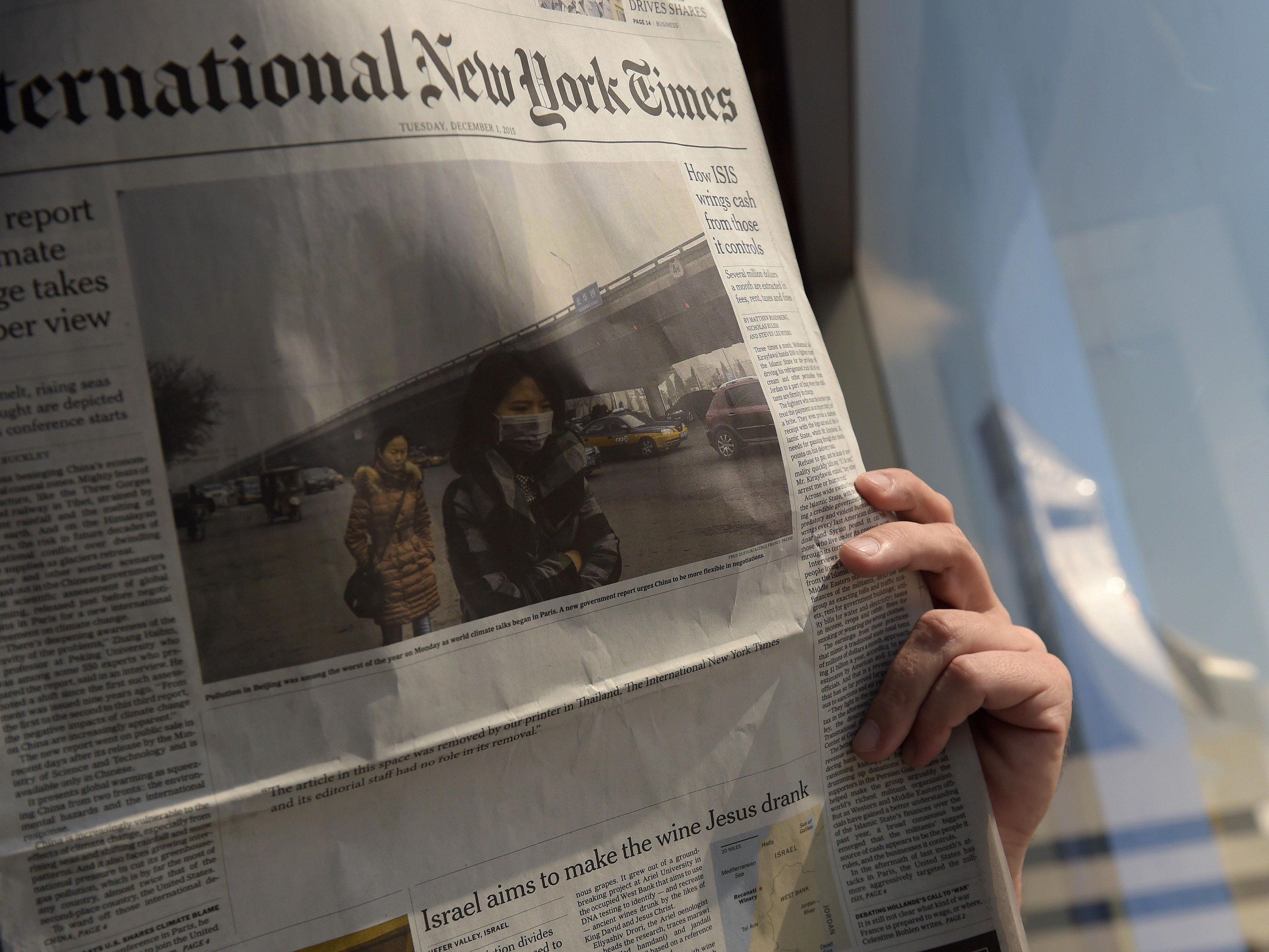 Statt eines kritischen Artikels auf der Titelseite prankt ein weißer Fleck auf der Titelseite der thailändischen Ausgabe der NYT.