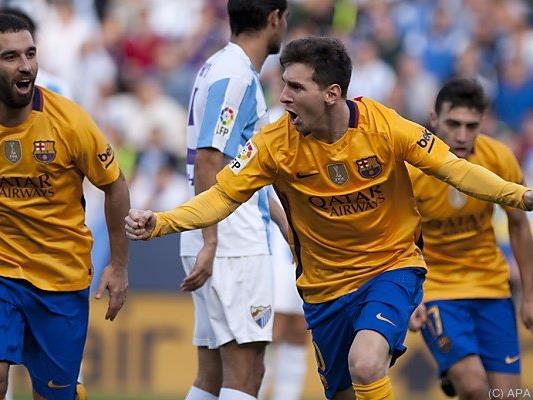 Lionel Messi jubelt nach seinem Siegtreffer in Malaga