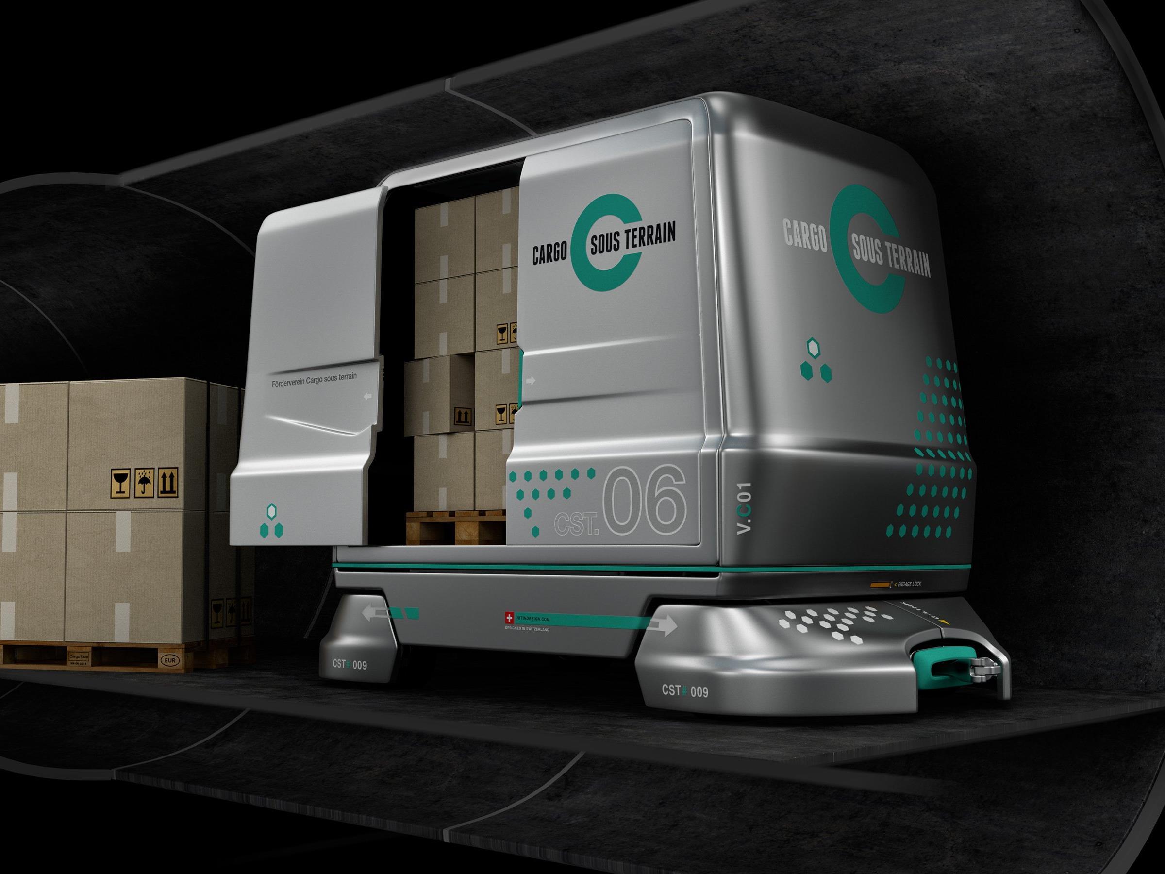 Cargo sous terrain Fahrzeuge transpo r- tieren Waren durch den Tunnel.