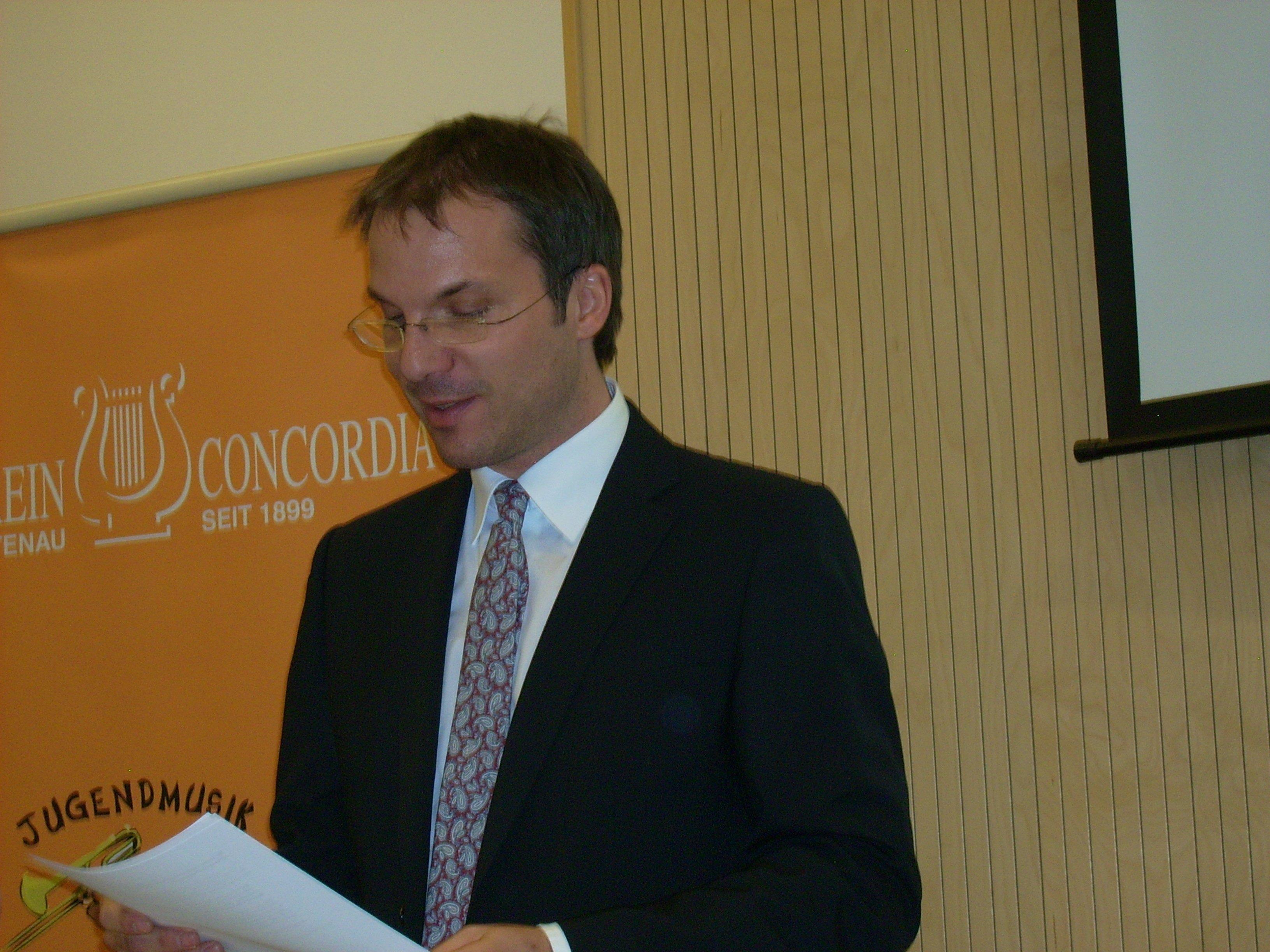 Konnte wieder zahlreiche Mitglieder und Freunde des MV Concordia begrüßen: Obmann Oliver Huber